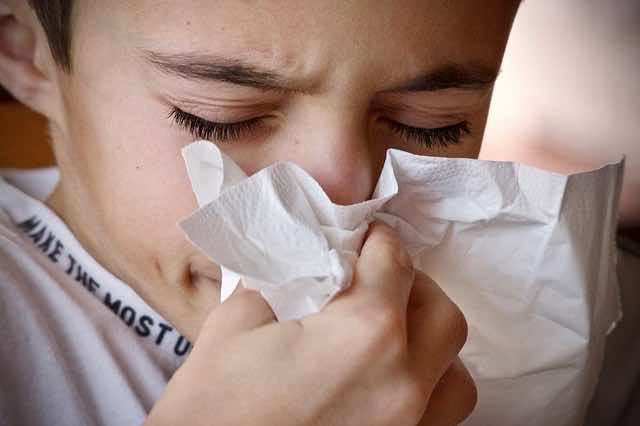 young boy sneezing and blowing his nose in a tissue