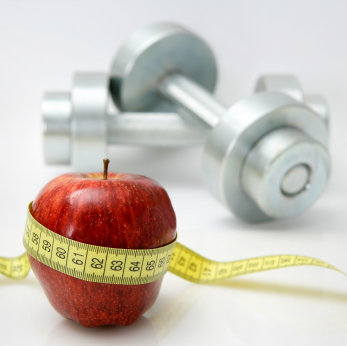 picture of apple and weights