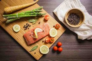 plate with salmon asparagus tomatoes and lemon