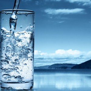 glass of water outside