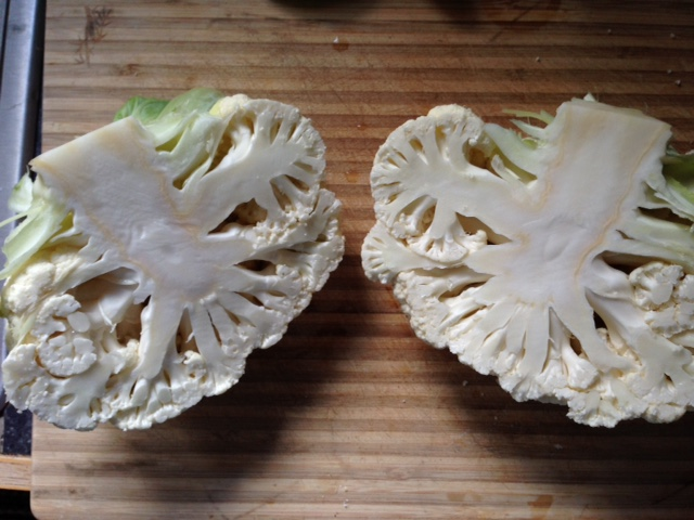 Cauliflower, halved