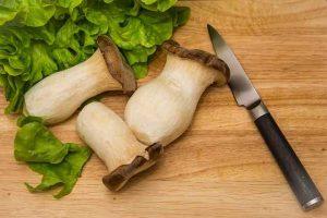 Oyster mushroom, knife, greens