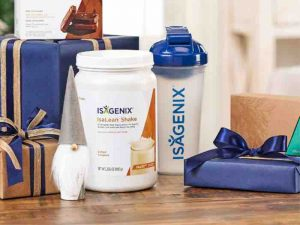 isagenix salted carmel isalean shale with water bottle and presents