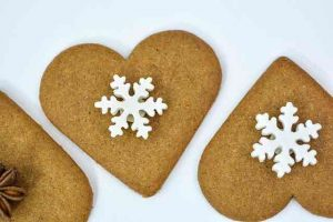heart shaped gingerbread cookies with snowflakes