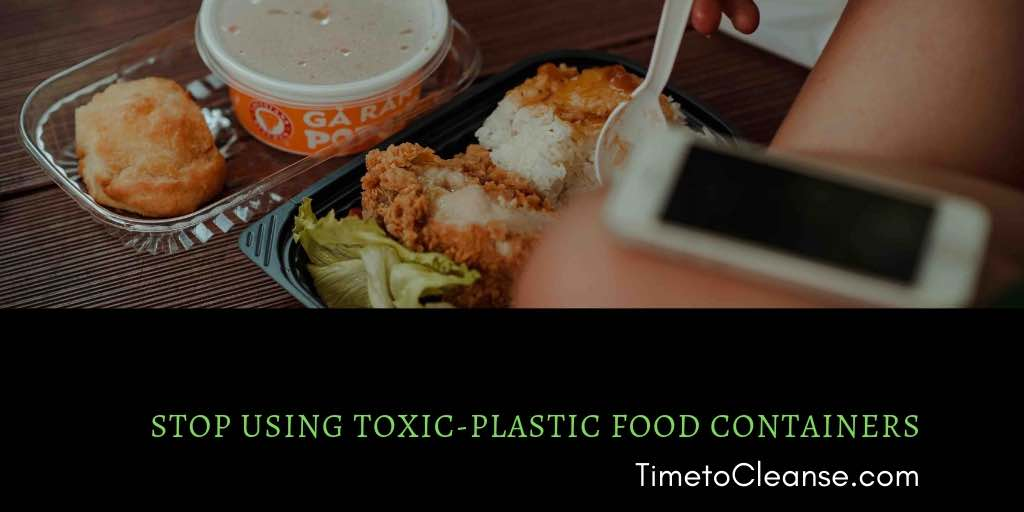 plastic food container with plastic fork and fried chicken