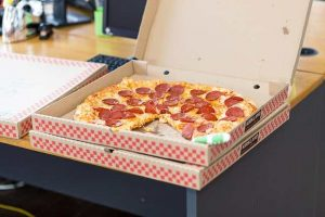 pizza box with pepperoni pizza